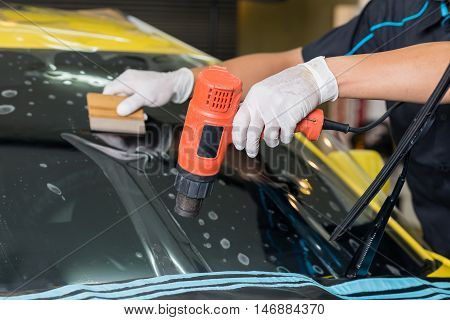 Windshield protection film installation series : Heat shrinking protection film