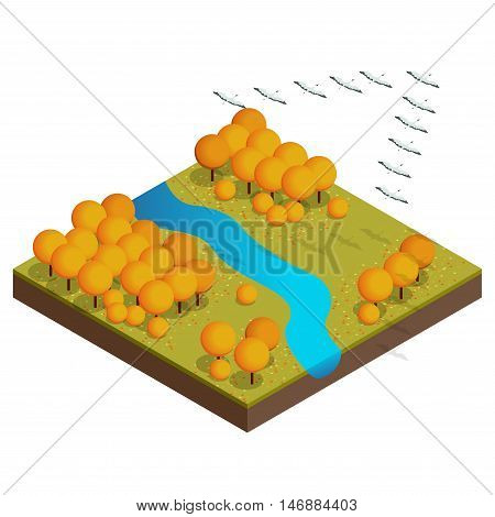 Isometric flock of migrating birds in autumn. Autumn concept.