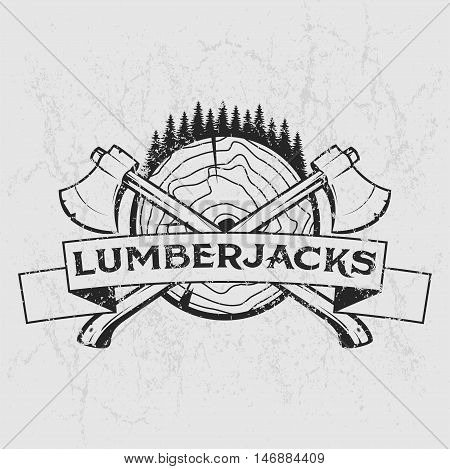 Lumberjack logo, t-shirt design with illustrated wood, trees, axes and ribbon. Hand drawn illustration