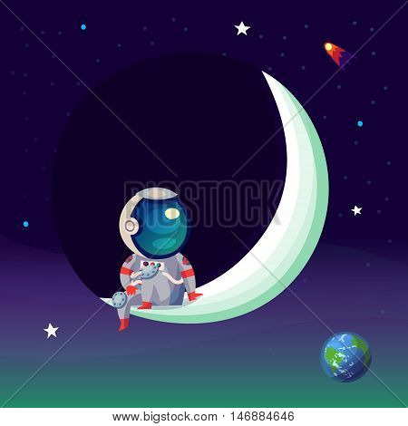 Illustration with an astronaut seating on the moon in outer space looking down at planet Earth.