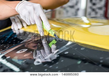 Windshield protection film installation series : Cutting protection film