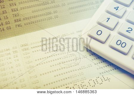 Account bank or bank book with calculator saving account passbook Save money concept color filter style
