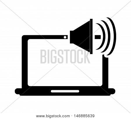 flat design laptop frontview and speacker icon vector illustration