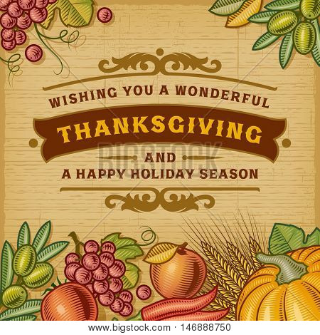 Thanksgiving Vintage Card, Editable EPS10 vector illustration with clipping mask and transparency.