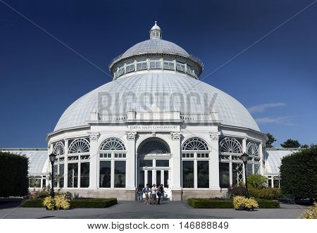 BRONX NEW YORK - AUGUST 19: Enid A. Haupt Conservatory at Bronx Botanical Garden. Taken August 19 2015 in New York.
