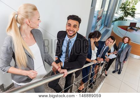 Business People Group Smile Going Upstairs, Businesspeople Modern Office