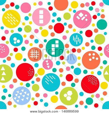 Colorful random polka dot of different size background. Vivid funny festive background. Different geometric shapes texture. Abstract circles seamless pattern. Vector illustration.