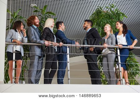 Business People Group Boss Hand Shake Welcome Gesture In Modern Office, Businesspeople Team Handshake Sign Up Contract Agreement Deal