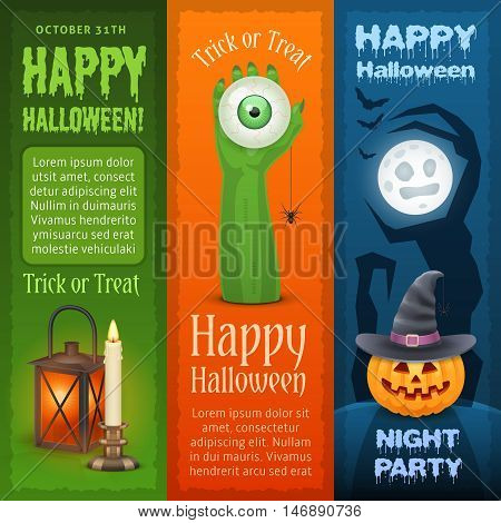 Happy Halloween vertical banners. Three types of banners for Halloween design.