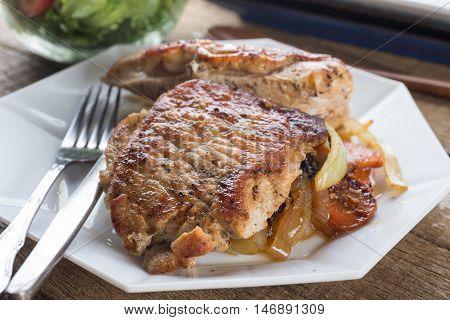 Food series : Pork and chicken steak