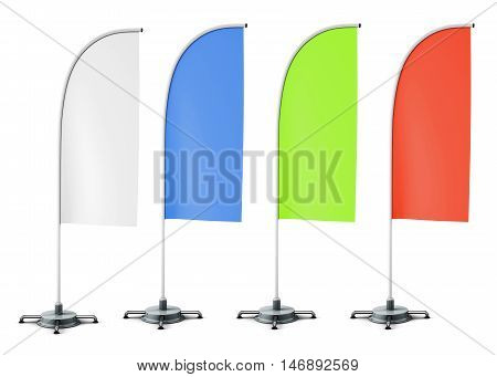 Layout Of Promotional Stands Flags Of Different Colors. White, Blue, Green And Red Flags. Mockup For