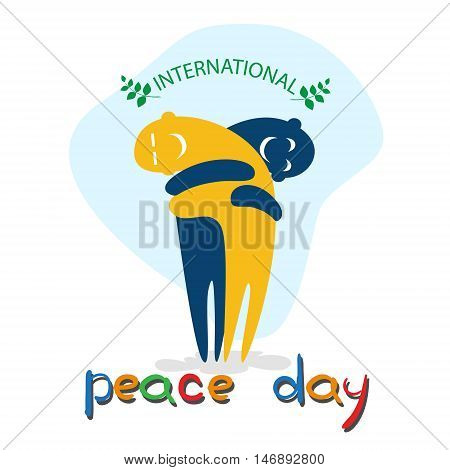 Cartoon Characters Embrace International Peace Holiday Poster Flat Vector Illustration