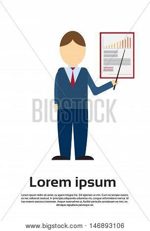 Business Man Showing Finance Chart Graph Flat Vector Illustration