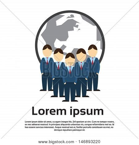 Business People Group, Businesspeople Team Over World Map Background Flat Vector Illustration