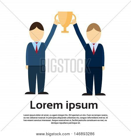 Two Business Man Get Prize Winner Cup, Teamwork Success Flat Vector Illustration