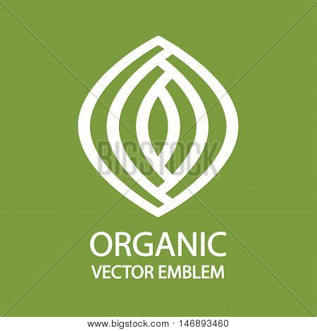 Organic farming logo design idea. Good food for good people creative symbol concept. Farm fresh products unique sign or icon art.