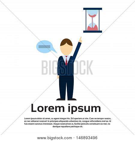 Business Man Point Finger To Sand Watch Deadline Concept Flat Vector Illustration