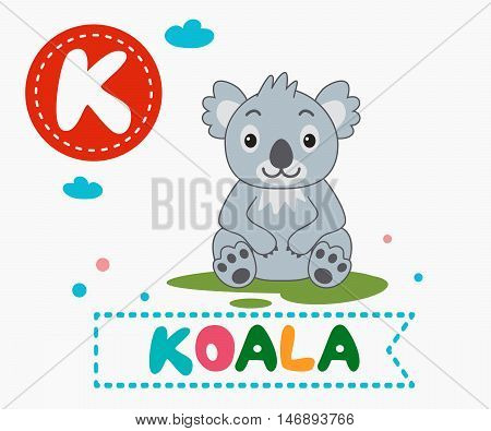 Hand Drawn Letter K And Funny Cute Koala