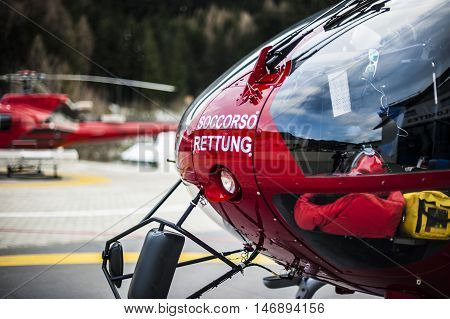 rescue helicopters in the mountains called for emergency situation