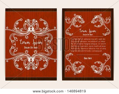 Cover design with floral ornamental frame. Retro style. Brochure flyer invitation or certificate. Size a4. Vector illustration eps10