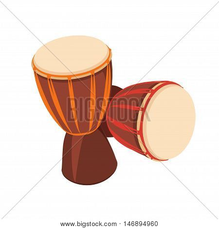 Two african Djembe Drum on white background. Vector illustration.