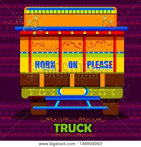 easy to edit vector illustration of Indian Truck representing colorful India saying Horn Ok Please
