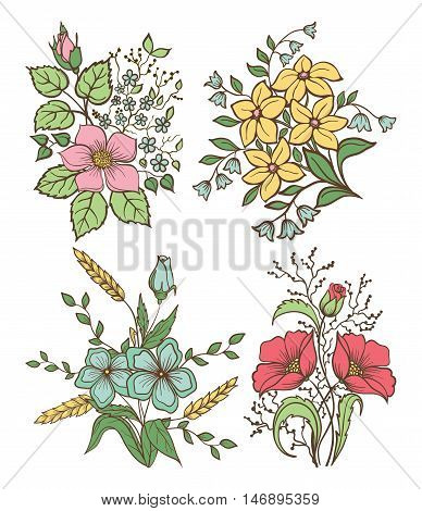 Vector flowers set. Colorful floral collection with leaves and flowers Hand Draw Vintage . Spring or summer design for invitation wedding or greeting cards