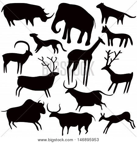 Cave painting stylized animals silhouettes rock art. Vector set on white background.