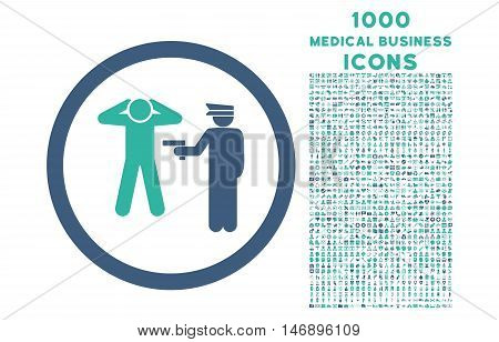 Arrest rounded glyph bicolor icon with 1000 medical business icons. Set style is flat pictograms, cobalt and cyan colors, white background.