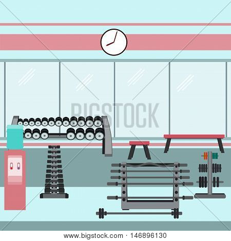 Gym interior with dumbbells barbells and weights. Vector illustration in flat style.