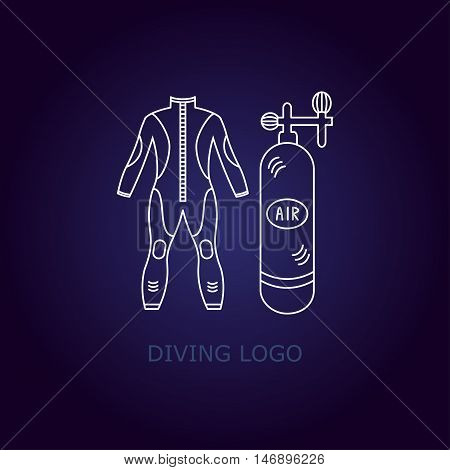 Vector diving logo. Thin line icon. logo with a wet suit and oxygen tank.