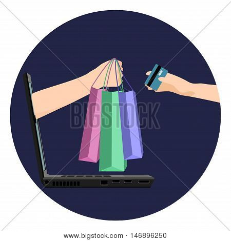 Internet shopping vector illustration. Laptop hand with shopping bags and hand with credit bank card. Online shopping E-commerce concept.