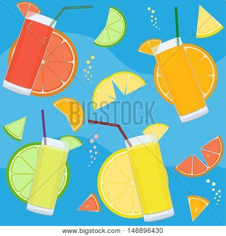 Seamless Pattern With Fresh Citrus Juices And Citrus Slices.