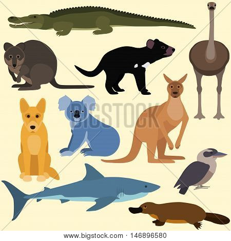 Set Of Cartoon Australian Animals.