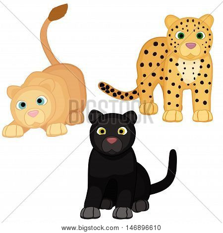 Cute Lion, Black Panther And Leopard Cub Characters.
