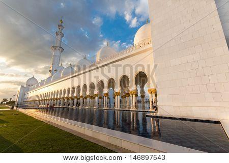ABU DHABI UAE - FEBRUARY 01: Sheikh Zayed Grand Mosque Abu Dhabi UAE on February 01 2016 in Abu Dhabi. The 3rd largest mosque in the world
