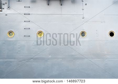 Boarding the old armored cruiser. Illuminators and staircase.