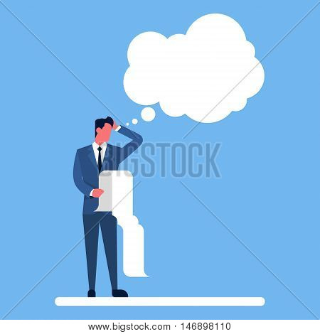 Business Man Hold Long Check List Ponder Thinking Chat Bubble Flat Vector Illustration