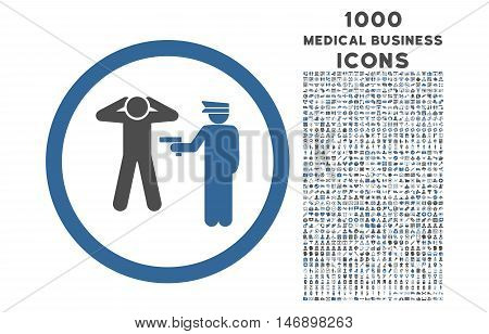 Arrest rounded glyph bicolor icon with 1000 medical business icons. Set style is flat pictograms, cobalt and gray colors, white background.