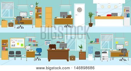 Office interiors template with wooden furniture reception workplace for boss ceiling light blue walls isolated vector illustration