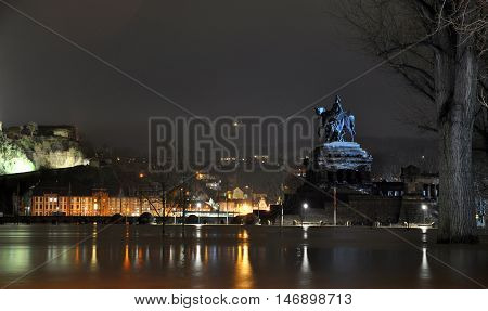 Koblenz City Germany flood historic German Corner where Rhine and moselle flow together