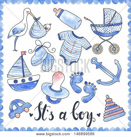 Baby boy watercolor elements set with calligraphic title carriage and dummy stork and toys isolated vector illustration
