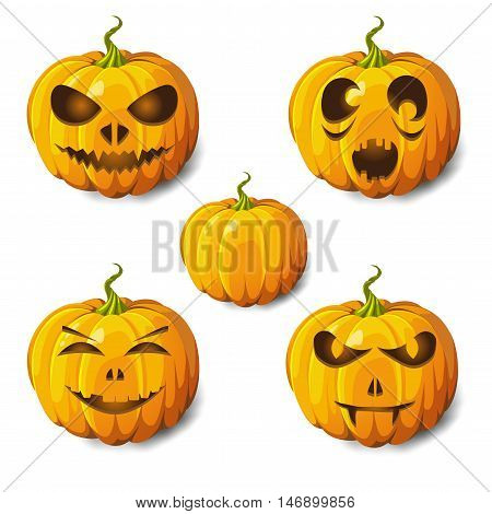 Halloween pumpkin gourd or squash 5 icons set different emotion variation. Scary Jack-o-lantern funny spooky horror images expressions. Side view close-up vector illustration on purple background