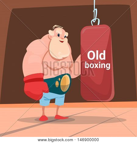 Senior Man Boxer Sport Box Gym Exercise Workout Flat Vector Illustration