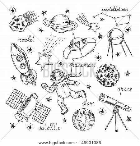 Space hand drawn elements set with letterings astronaut rocket and satellites planets and stars isolated vector illustration