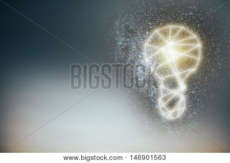 Abstract lamp on bright background with copy space. Idea concept. 3D Rendering