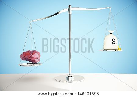 Abstract polygonal brain on silver scales outweighing money sack on blue background. Knowledge concept. 3D Rendering