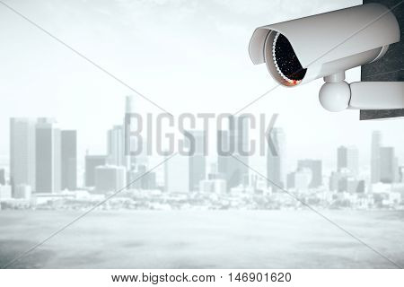 3D Rendering of a white CCTV security camera on abstract city background with copy space