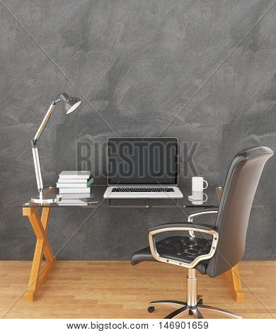 Creative designer workplace with blank laptop coffee cup book and other items in interior with chalkboard wall and wooden floor. Mock up 3D Rendering