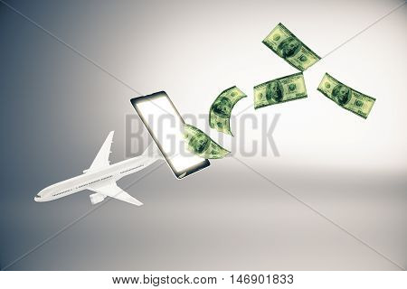 Abstract airplane and dollar bills flying out of cellphone screen on grey background.3D Rendering. Online payment for plane tickets concept